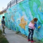 Роспись подпорной стены бассейна «Лазурный»