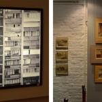 Слева: экспозиция зала №3. Справа: экспозиция, посвящённая художественным работам архитекторов.
