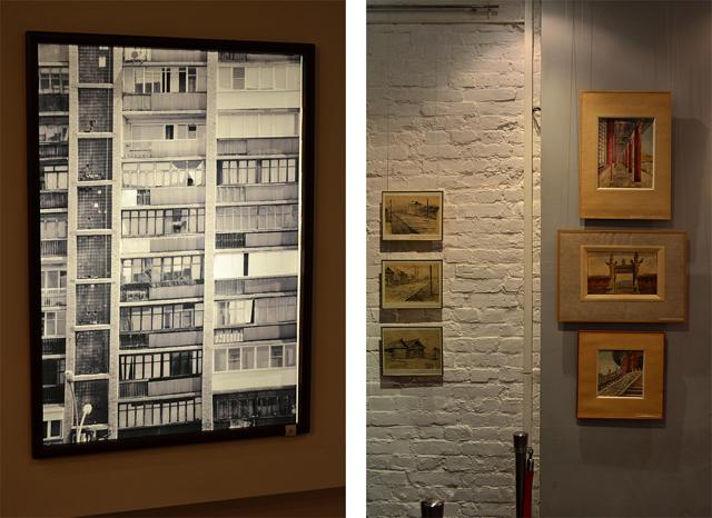 Слева: экспозиция зала №3. Справа: экспозиция, посвященная художественным работам архитекторов.